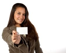 Free Young Hispanic Woman Holding A Blank Business Card Royalty Free Stock Photo - 16794575