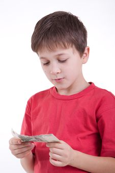 The Boy Has Control Over Money Stock Image