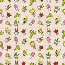 Free Cute Cartoon Seamless Pattern Royalty Free Stock Photo - 16795075