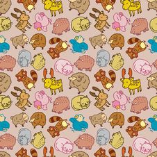 Seamless Cartoon Animal Pattern Royalty Free Stock Images