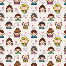Free Seamless Cute Family Pattern Stock Photos - 16795283