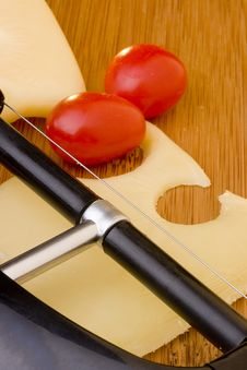 Cheese Slice And Red Tomato Royalty Free Stock Photo