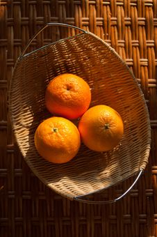 Oranges In The Wattled Bowl Royalty Free Stock Photo