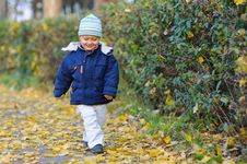 Little Cute Boy Walks Royalty Free Stock Photography