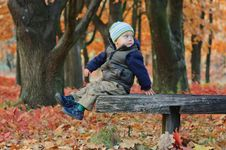 Free Cute Little Boy Sitting On A Bench Royalty Free Stock Photos - 16796998