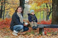 Boy Drinks Tea With Her Mother Stock Images