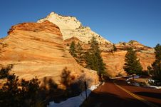 Zion National Park In Winter, Utah, USA Royalty Free Stock Photos