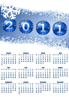 Free 2011 Calendar With Christmas Balls Royalty Free Stock Image - 16797676