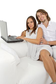 Free Young European Couple Surfing The Web At Home Royalty Free Stock Image - 16798376