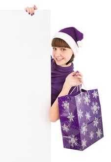 Free Santa Woman With Shopping Bag Holding Billboard Royalty Free Stock Image - 16798466