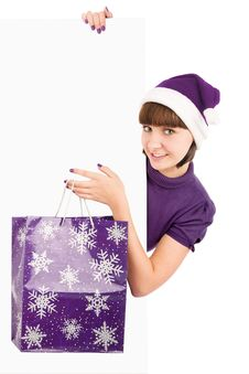 Free Sants Woman With Shopping Bag Holding Billboard Royalty Free Stock Photos - 16798548