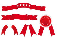 Free Decorative Set Of Red Ribbons Stock Photography - 16798612