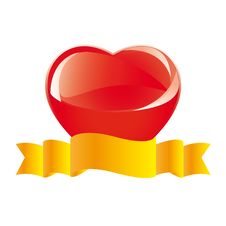 Red Glass Heart With Yellow Ribbon Royalty Free Stock Photo