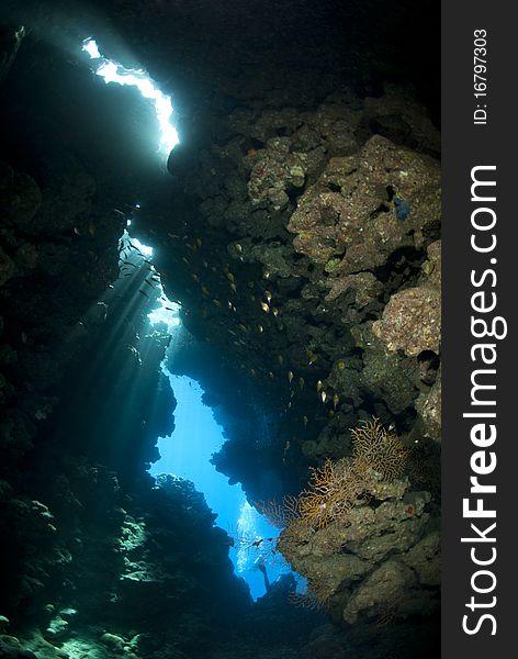 Sunlight shining through an underwater cave.