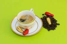 Hot Coffee And Chocolates Royalty Free Stock Photos