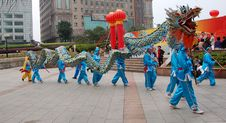 Chinese Traditional Dragon Dance Troop Royalty Free Stock Photo