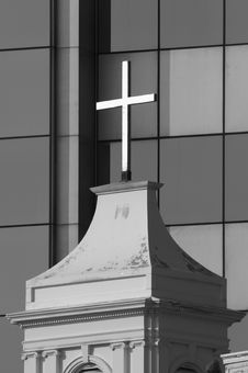 Free Cross Of Church Before Modern Office C001bw Stock Photography - 1681452