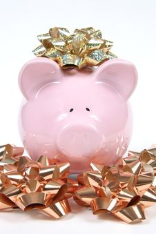 Free Pink Piggy Bank With Christmas Bows Stock Image - 1682341