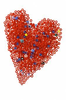 Red Heart From Galss Beads Royalty Free Stock Image