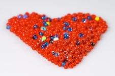 Red Beads Heart Royalty Free Stock Images