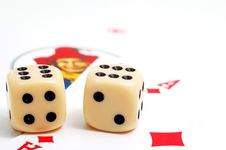 Dices And Play Cards Royalty Free Stock Photography