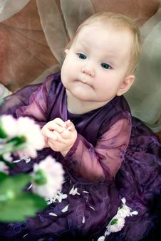 Free Little Girl And Flowers Stock Images - 1688274