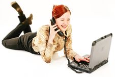 Free Woman With Laptop And Receiver Royalty Free Stock Photo - 1688505