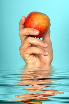 Free Man Holds Fresh Wet Apple Royalty Free Stock Photos - 1689688