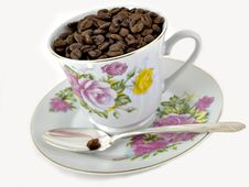 Free Coffee Beans & Cup Royalty Free Stock Photo - 1689805