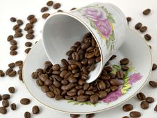 Free Coffee Cup & Beans Royalty Free Stock Images - 1689809
