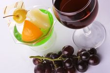 Red Wine With Grapes And Dessert Stock Photo