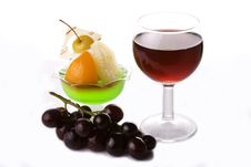 Red Wine With Grapes And Dessert Stock Photography
