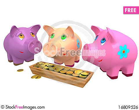 Free Pig A Coin Box Royalty Free Stock Image - 16809526