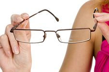 Free Glasses In Hand Isolated Royalty Free Stock Images - 16800609