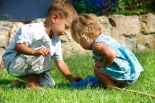 Free Brother And Sister Playing In Grass Stock Photos - 16801263