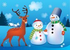 Vector Illustration Of Snowmen Stock Image