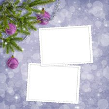 Card For The Holiday With Branches And Balls Royalty Free Stock Photography