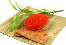 Free Glass Flat Dish With Red Caviar Stock Photography - 16803572