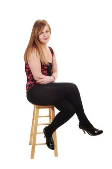 Blond Girl In Black Tights. Stock Image