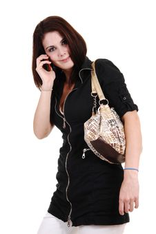Girl On The Phone. Royalty Free Stock Photo