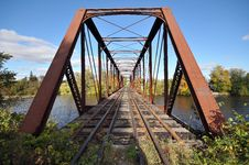 Free Rail Length Across The River  On Steel Bridge Royalty Free Stock Photography - 16804847