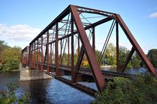 Free Rail Length Across The River  On Steel Bridge Royalty Free Stock Photo - 16804935