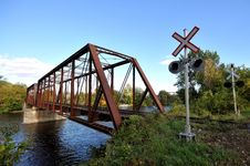Free Rail Length Across The River  On Steel Bridge Stock Photo - 16804980