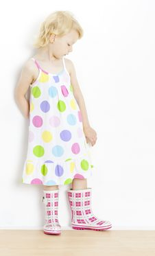 Free Little Girl In Rubber Boots Royalty Free Stock Images - 16806639