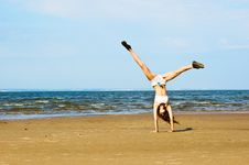 Free Exercising On The Beach Stock Photography - 16806932