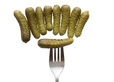 Gherkins And Fork Stock Photos