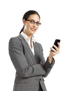 Free Young Business Woman With Cellphone 2 Stock Image - 16807371