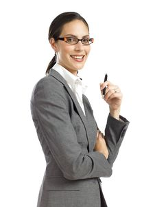 Free Young  Business Woman Holding A Pen 2 Royalty Free Stock Photos - 16807418