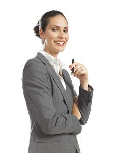 Free Young  Business Woman Holding A Pen Stock Image - 16807461