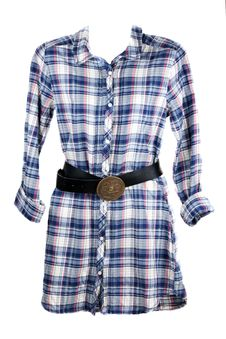 Free Feminine Plaid Shirt And Leather Belt Royalty Free Stock Photo - 16807905